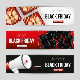 Набор шаблонов черной пятницы с подарочными шарами и мегафоном