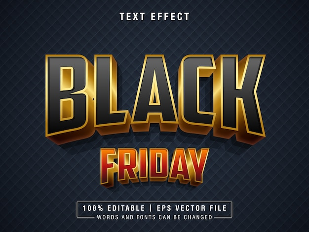 Black friday text editable effect gradient effect