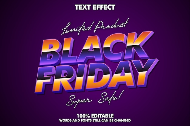 Black friday text effect, editable modern text effect
