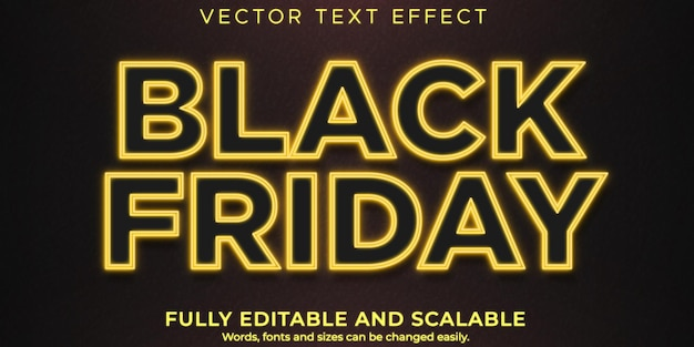 Modello di effetto di testo del black friday, vendita modificabile e stile di testo alla moda