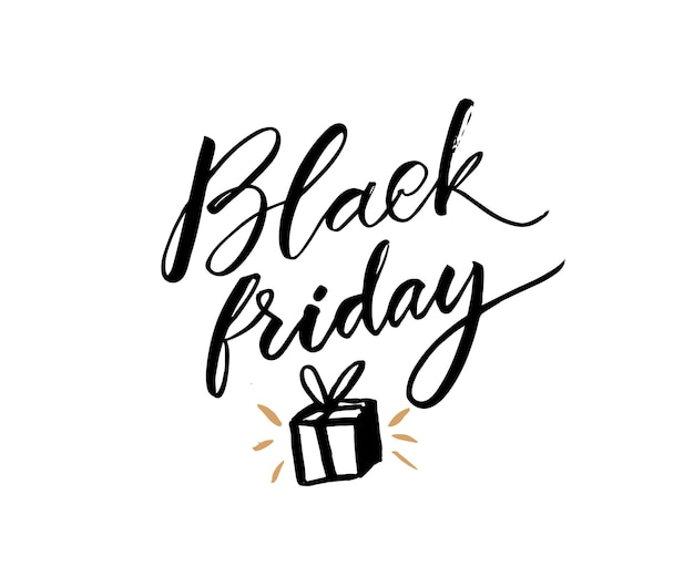 Black friday text and hand drawn gift. elegant inscription for sale banner announcements.