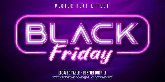 검은 금요일 텍스트, 네온 불빛 간판 스타일 편집 가능한 텍스트 효과