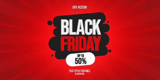 Black friday text style effect whit discount details