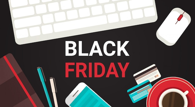 Black friday text on workplace desk with computer keyboard