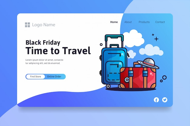 Black friday time to travel landing page concept