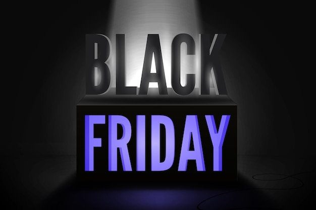 Black friday total sale vector banner template. stylish capital letters inscription illuminated by limelight. stylish seasonal shopping event ads on 3d cube. neon light discount offer poster design