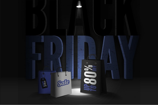 Black friday trendy banner template. realistic shopping bags with 80 percent discount offer. lamp light illuminating 3d mega sale inscription. seasonal clearance poster design layout