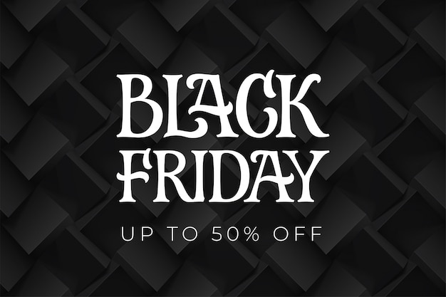 Black friday typography on the background volume cubes pattern. template for promotional banner.  hand drawn lettering.  for poster, cards or banners.  illustration.