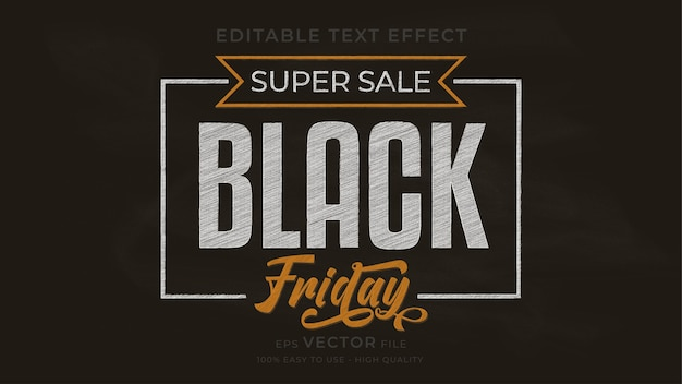 Black friday typography chalkboard   editable text effect