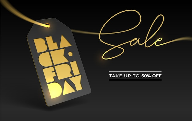 Black friday typography and price tag, gold foil letterpress. discount 50 fifty percent. banner lettering for online and offline business