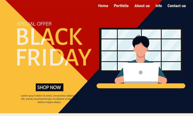 Black friday. vector concept website template for app design. super discounts and promotions, huge sales. flat style.