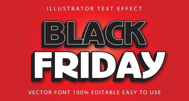 Black friday vector editable text effect