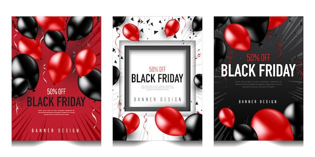 Black friday vertical banner design set collection