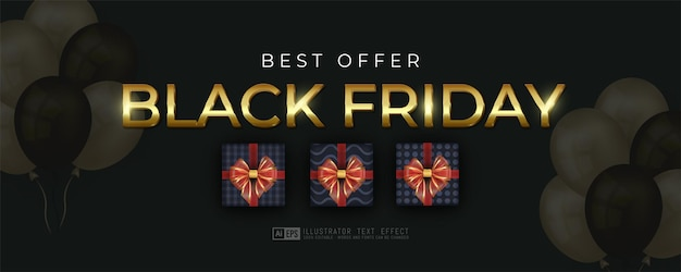 Black friday vertical banner with gift box template