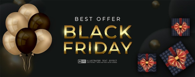 Black friday vertical banner with realistic balloon template