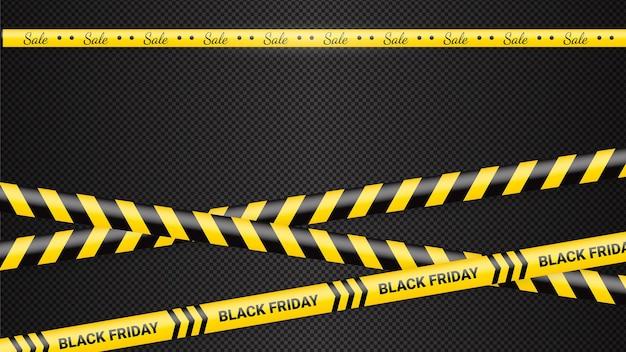 블랙 프라이데이 경고 테이프 리본 블랙 프라이데이 판매를 위한 템플릿
