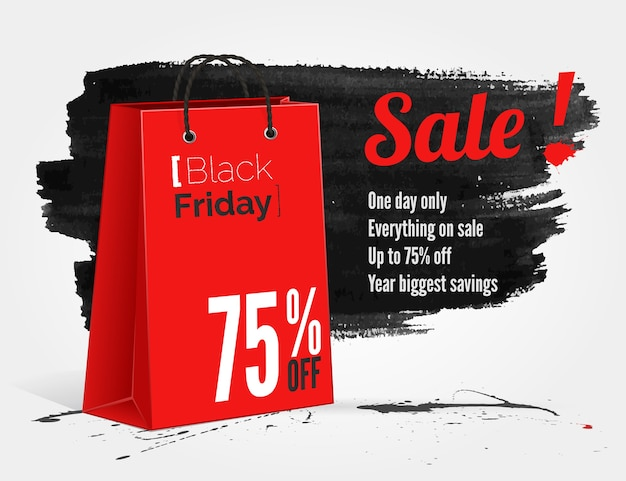 Black friday watercolor banner with splashes of ink and shoppping bag