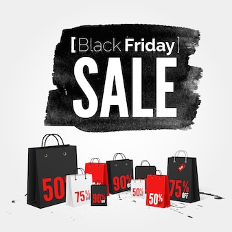 Black friday watercolor banner with splashes of ink and shoppping bags