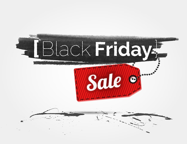 Black friday watercolor banner with splashes of ink and shoppping tag