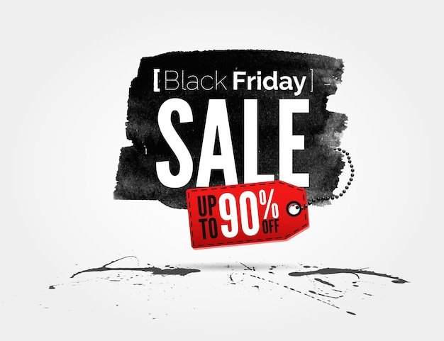 Black friday watercolor banner with splashes of ink
