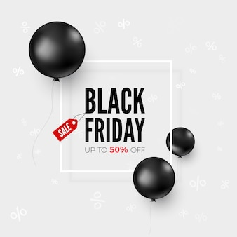 Black friday web banner with special offer and balloons. sale discount. black balloons flying around offer text.