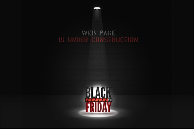 Black friday web page under construction banner template. stylized stencil font lettering on brick wall background. mega sale website page with loading progress icon. big discounts anticipation poster