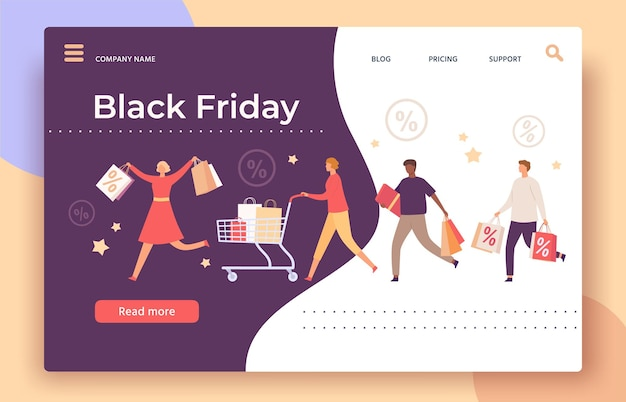 Black friday web page. shop big sale and discount banner with running people with shopping bags, cart and gift box, landing vector template. shops offer and discount, store advertisement illustration