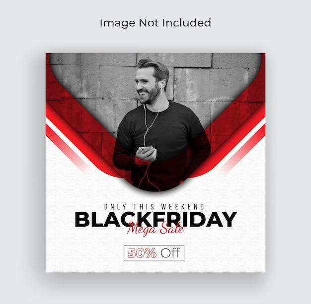 Black friday weekend sale social media banner instagram post and web banner premium vector