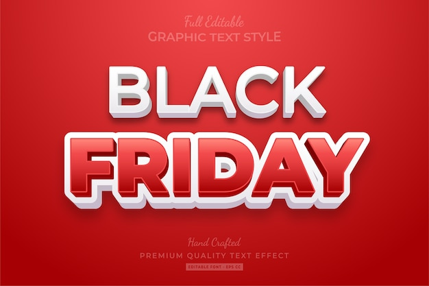 Black friday white red editable text style effect