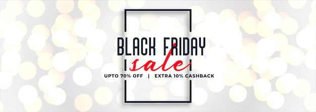 Black friday white sale bokeh banner