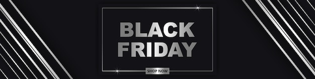 Black friday, wide banner. gray and silver luxury dark background.