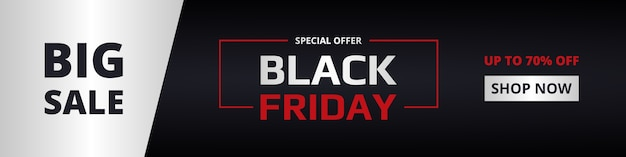Black friday, wide banner template. black friday dark, red and silver vertical banner. big sale, special offer