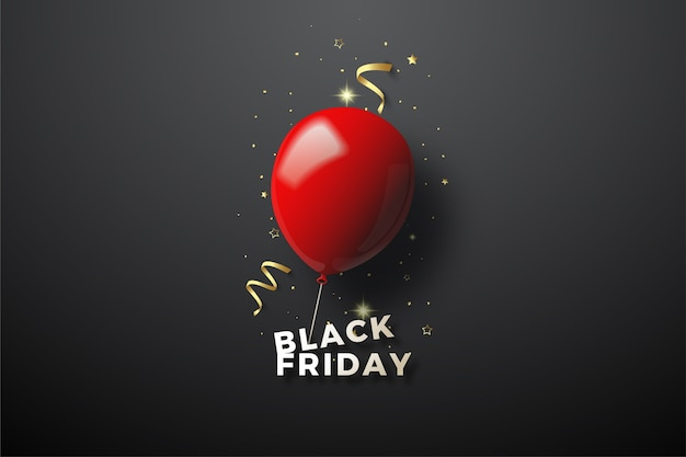 Черная пятница с 3d красной иллюстрацией баллона на черном.
