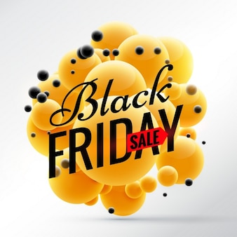 Black friday with 3d yellow balls