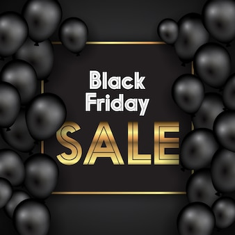 Black friday with balloons and gold text design
