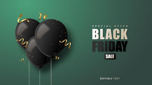 Черная пятница с черными 3d воздушными шарами иллюстрации.