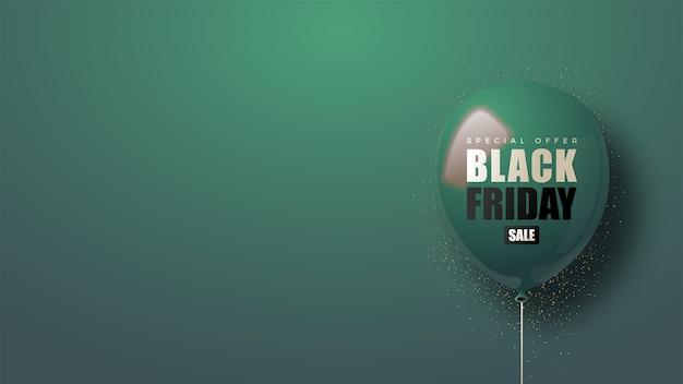 濃い緑色の風船の3dイラストとブラックフライデー。