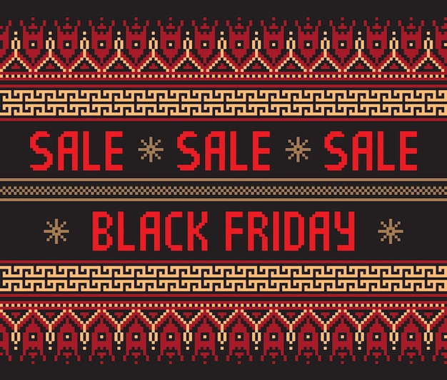 Black friday  with ethnic ornament .
