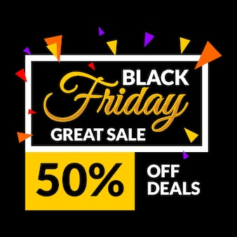 Black friday with gold sale banner