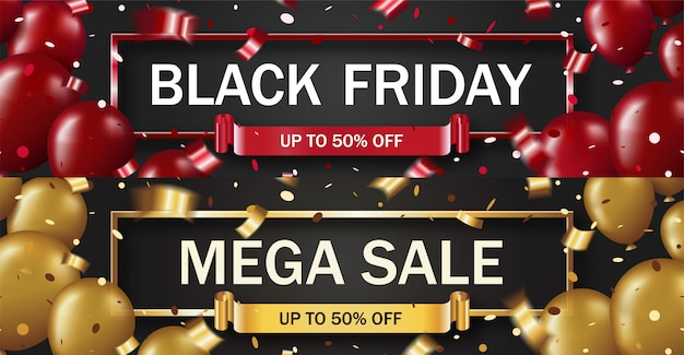 Black friday  with golden and red balloons and confetti in frame, horizontal banner template
