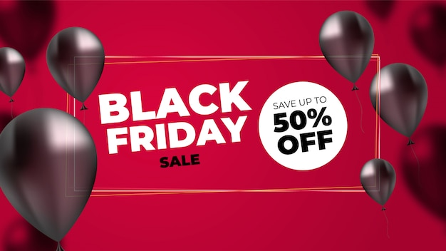 Black friday with realistic balloons