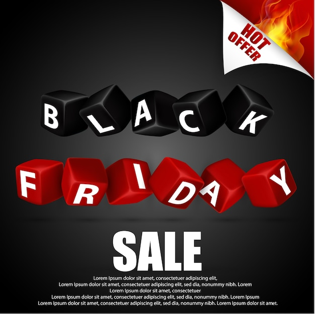 Black friday with red and black cubes on black background