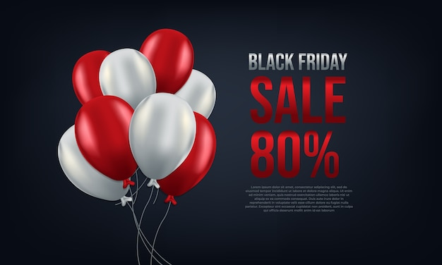 Black friday with red and white balloons with 80% discount