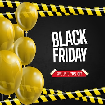 Black friday with ribbons and balloons