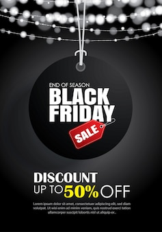 Black friday with tag hanging sale flyer template