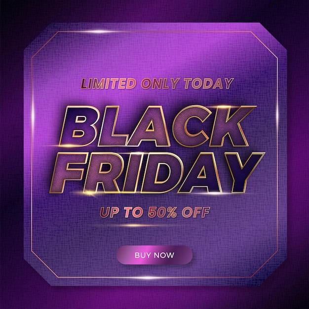 Черная пятница с текстовым эффектом тема металлическая роскошная фиолетовая золотая цветовая концепция для модных флаеров и баннеров на рынке продвижения шаблонов онлайн