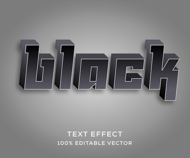 Black full editable text effect with trendy style