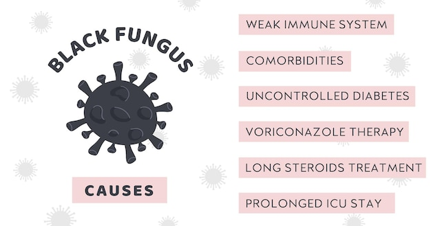 Black fungus outbreak infographic banner with symptom of mucormycosis disease