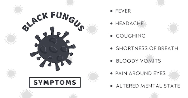 Black fungus outbreak infographic banner with symptoms of mucormycosis disease fungi bacteria