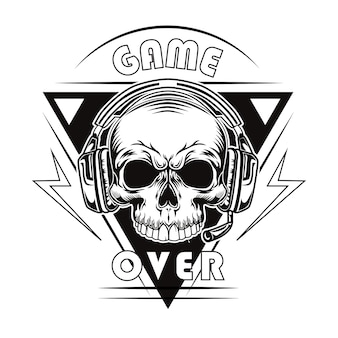 Black game over vector illustration. vintage dead head or skull of gamer in headphones